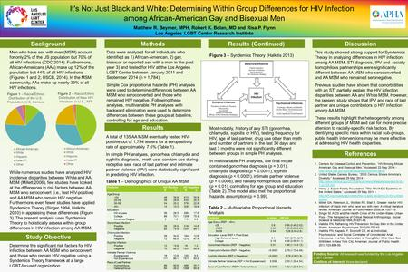 It's Not Just Black and White: Determining Within Group Differences for HIV Infection among African-American Gay and Bisexual Men Matthew R. Beymer, MPH,