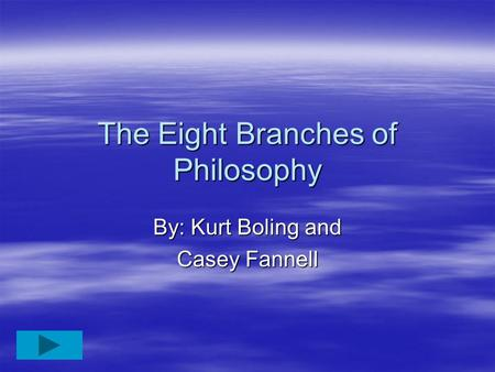 The Eight Branches of Philosophy By: Kurt Boling and Casey Fannell.