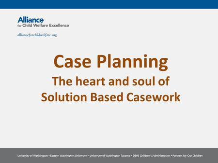 Case Planning The heart and soul of Solution Based Casework.