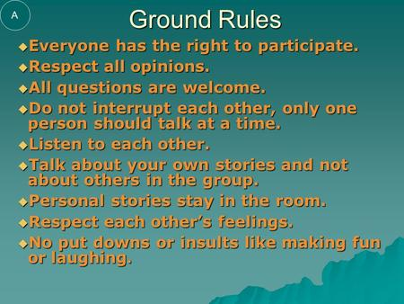 Ground Rules  Everyone has the right to participate.  Respect all opinions.  All questions are welcome.  Do not interrupt each other, only one person.