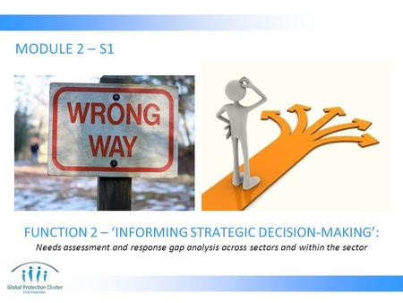FUNCTION 2 – 'INFORMING STRATEGIC DECISION-MAKING': Needs assessment and response gap analysis across sectors and within the sector MODULE 2 – S1.