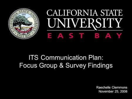 ITS Communication Plan: Focus Group & Survey Findings Raechelle Clemmons November 25, 2008.