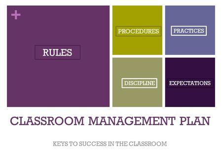 + CLASSROOM MANAGEMENT PLAN KEYS TO SUCCESS IN THE CLASSROOM RULES PROCEDURES DISCIPLINE PRACTICES EXPECTATIONS.
