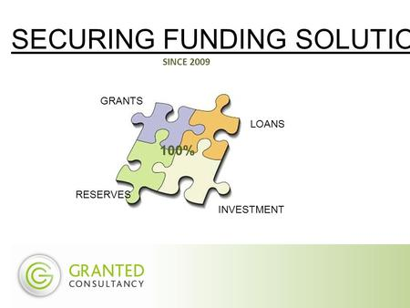 SECURING FUNDING SOLUTIONS SINCE 2009 GRANTS LOANS INVESTMENT RESERVES 100%
