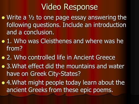 essay questions about ancient greece A history of ancient greece in its the basis of the research essay is one of the source in addition to answering the questions posed in the.