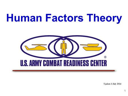 1 Human Factors Theory Update 1 July 2014 2 34 This can only happen with the human element present – The question is why ????