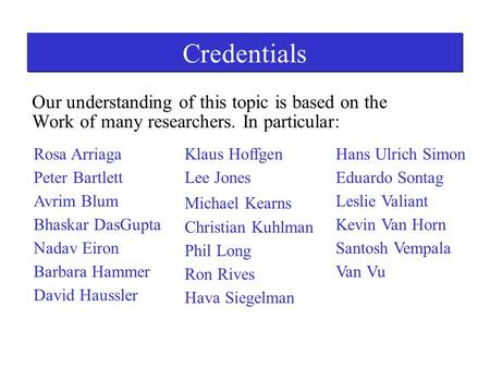 Credentials Our understanding of this topic is based on the Work of many researchers. In particular: Rosa Arriaga Peter Bartlett Avrim Blum Bhaskar DasGupta.