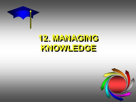 12. MANAGING KNOWLEDGE. KNOWLEDGE MANAGEMENT IN THE ORGANIZATION KNOWLEDGE MANAGEMENT: Systematically & Actively Managing and Leveraging Stores of Knowledge.