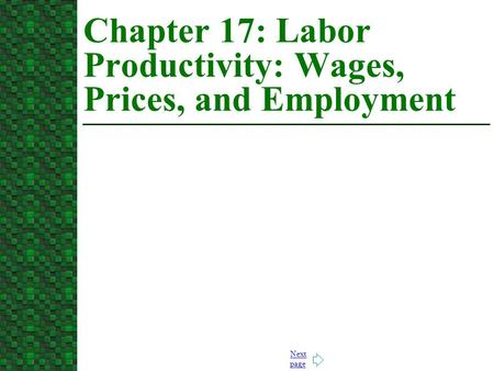 Chapter 17: Labor Productivity: Wages, Prices, and Employment