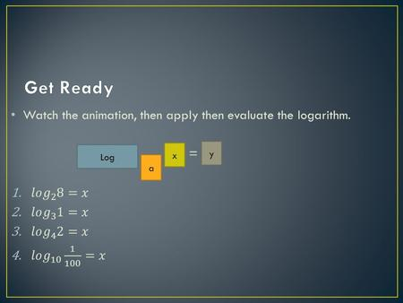 Log a x y. Recognize and evaluate logarithmic functions with base a Graph logarithmic functions Recognize, evaluate, and graph natural logarithmic functions.