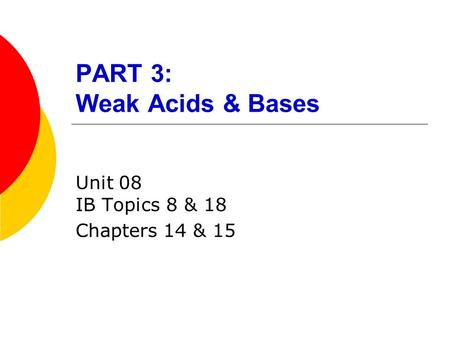 PART 3: Weak Acids & Bases Unit 08 IB Topics 8 & 18 Chapters 14 & 15.