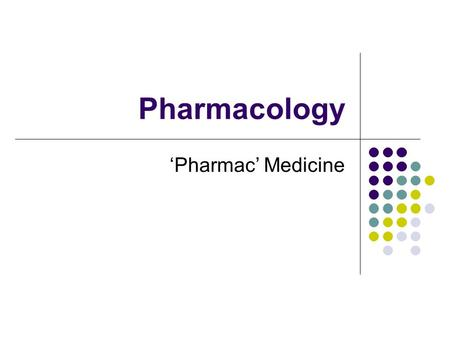 Pharmacology 'Pharmac' Medicine. Categories Drugs are categorised according to function e.g. anti inflammatories, antihypertensives, Antibiotics Are known.