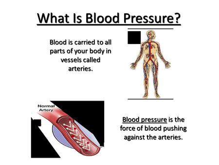 What Is Blood Pressure? Blood pressure is the force of blood pushing against the arteries. Blood is carried to all parts of your body in vessels called.