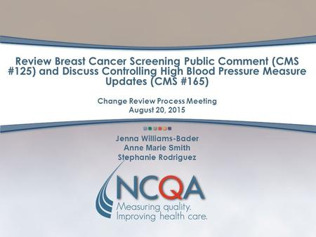 Review Breast Cancer Screening Public Comment (CMS #125) and Discuss Controlling High Blood Pressure Measure Updates (CMS #165) Change Review Process Meeting.