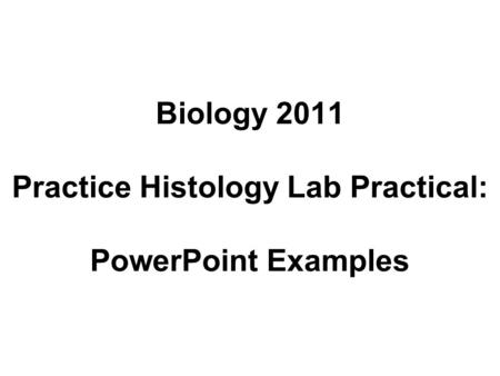 Biology 2011 Practice Histology Lab Practical: PowerPoint Examples.