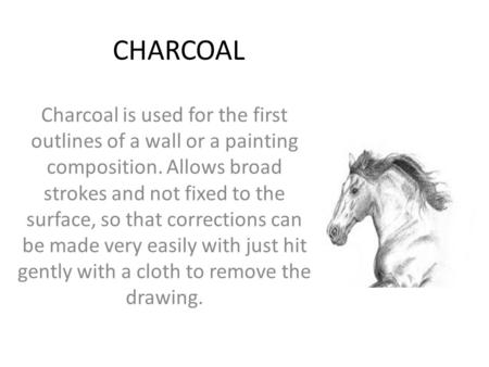 CHARCOAL Charcoal is used for the first outlines of a wall or a painting composition. Allows broad strokes and not fixed to the surface, so that corrections.