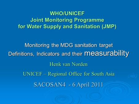 Monitoring the MDG sanitation target