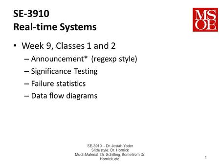 SE-3910 Real-time Systems Week 9, Classes 1 and 2 – Announcement* (regexp style) – Significance Testing – Failure statistics – Data flow diagrams SE-3910.
