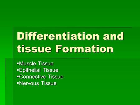 Differentiation and tissue Formation  Muscle Tissue  Epithelial Tissue  Connective Tissue  Nervous Tissue.