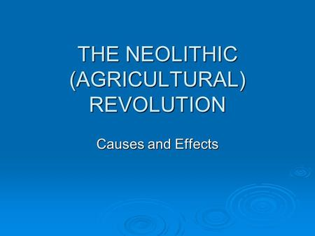 THE NEOLITHIC (AGRICULTURAL) REVOLUTION Causes and Effects.