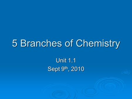 5 Branches of Chemistry Unit 1.1 Sept 9 th, 2010.