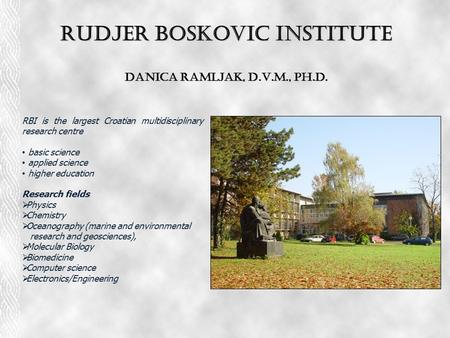 Rudjer Boskovic Institute Danica Ramljak, D.V.M., Ph.D. RBI is the largest Croatian multidisciplinary research centre basic science applied science higher.