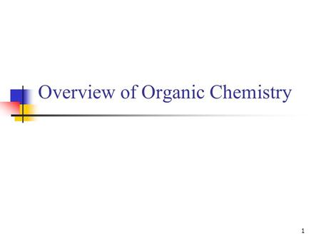 Overview of Organic Chemistry 1. Exer Biochem c0-organic chem 2 Organic chemistry Chemistry of carbon compounds >95% of all known compounds contain carbon.