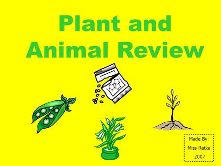 Plant and Animal Review Made By: Miss Ratka 2007.