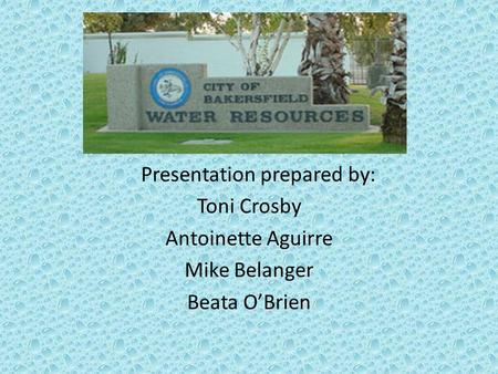Presentation prepared by: Toni Crosby Antoinette Aguirre Mike Belanger Beata O'Brien.