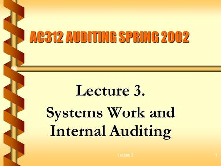 Lecture 31 AC312 AUDITING SPRING 2002 Lecture 3. Systems Work and Internal Auditing.