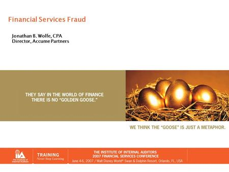 Financial Services Fraud