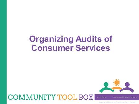 Copyright © 2014 by The University of Kansas Organizing Audits of Consumer Services.