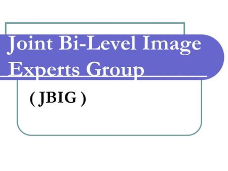 Joint Bi-Level Image Experts Group ( JBIG ). JBIG Joint Bi-Level Image Experts Group (JBIG), reports both to ISO/IEC JTC1/SC29/WG11 and ITU-T SG 8. 
