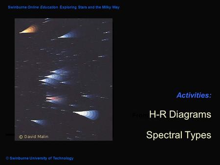 Module : Activities: From H-R Diagrams Spectral Types Swinburne Online Education Exploring Stars and the Milky Way © Swinburne University of Technology.