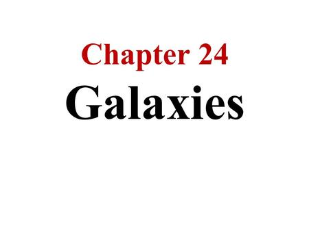 Chapter 24 Galaxies. Beyond the Milky Way are billions of other galaxies Some galaxies are spiral like the Milky Way while others are egg-shaped / elliptical.