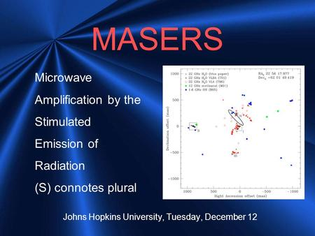 MASERS Johns Hopkins University, Tuesday, December 12 Microwave Amplification by the Stimulated Emission of Radiation (S) connotes plural.