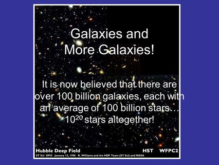 Galaxies and More Galaxies! It is now believed that there are over 100 billion galaxies, each with an average of 100 billion stars… 10 20 stars altogether!