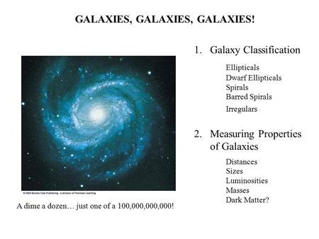 GALAXIES, GALAXIES, GALAXIES! A dime a dozen… just one of a 100,000,000,000! 1.Galaxy Classification Ellipticals Dwarf Ellipticals Spirals Barred Spirals.