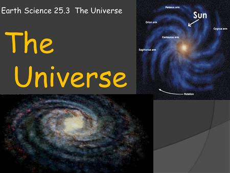Earth Science 25.3 The Universe The Universe. Earth Science 25.3 The Universe  On a clear and moonless night, away from city lights, you can see a marvelous.