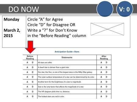 "DO NOW V: 0 Monday March 2, 2015 Circle ""A"" for Agree Circle ""D"" for Disagree OR Write a ""?"" for Don't Know in the ""Before Reading"" column."