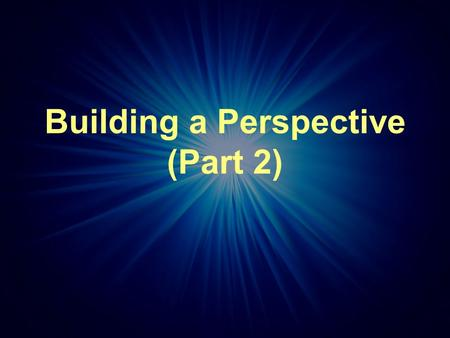 Building a Perspective (Part 2). 500 Year Cycle of Faith Renewal.