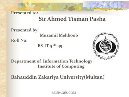 BZUPAGES.COM Presented to: Sir Ahmed Tisman Pasha Presented by: Muzamil Mehboob Roll No: BS-IT-5 TH -49 Department of Information Technology Institute.