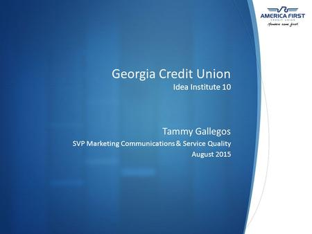 Georgia Credit Union Idea Institute 10 Tammy Gallegos SVP Marketing Communications & Service Quality August 2015.