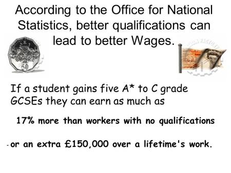 According to the Office for National Statistics, better qualifications can lead to better Wages. If a student gains five A* to C grade GCSEs they can earn.
