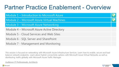Partner Practice Enablement - Overview This session is focused on networking with Microsoft Azure Infrastructure Services. Learn how to enable, secure.