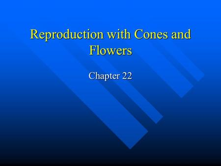 Reproduction with Cones and Flowers Chapter 22. Alternation of Generations All plants have a diploid sporophyte generation and a haploid gametophyte generation.