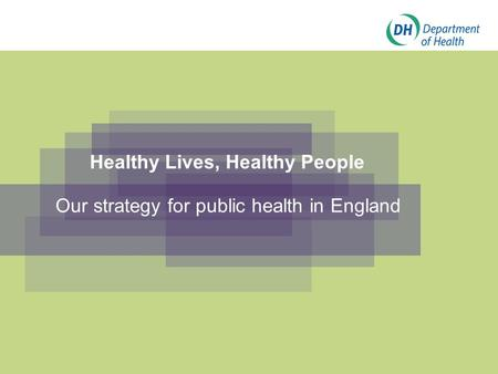 Healthy Lives, Healthy People Our strategy for public health in England.
