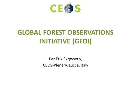 GLOBAL FOREST OBSERVATIONS INITIATIVE (GFOI) Per Erik Skrøvseth, CEOS-Plenary, Lucca, Italy.