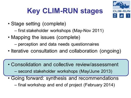 Key CLIM-RUN stages Stage setting (complete) – first stakeholder workshops (May-Nov 2011) Mapping the issues (complete) – perception and data needs questionnaires.