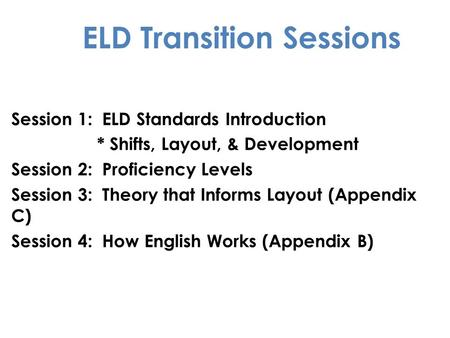 ELD Transition Sessions Session 1: ELD Standards Introduction * Shifts, Layout, & Development Session 2: Proficiency Levels Session 3: Theory that Informs.
